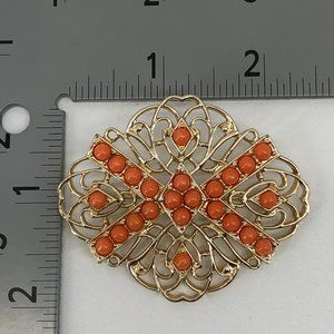 Vintage Sarah Coventry Gold Tone Orange Bead Pin